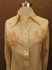 Cool Vtg 60s NOS NEW Jantzen Ivory Antron Nylon South Western Shirt Sz 12 Cactus