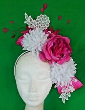 HOT PINK FUSCHIA WHITE FLOWERS FEATHERS LACE FASCINATOR CROWN HEADBAND RACES