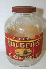 Vintage 1 lb. Folger's Golden Gate Drip Grind Coffee Jar Paper Label 1940