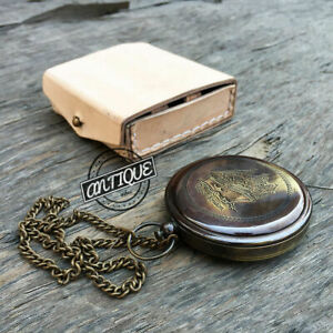 Valentine Nautical Chain Brass Compass Leather Case Pocket Gift Classic Decor