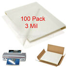 100 Pack Laminating Pouches 3 mil Legal Size 9' X 11.5' Sheet Thermal Heat Seal