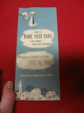 VINTAGE 1950'S MENNEN 'HOW TO NAME YOUR BABY' BOOKLET - 2000 NAMES & MEANINGS