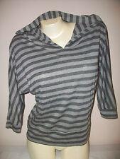 Women's Size Small WEAVERS Striped 3/4 Sleeves Hoodie Top