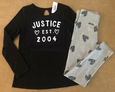 Justice Girl Black Logo Valentine Tee & Gray Heart Leggings Outfit 8 10 12 14 16
