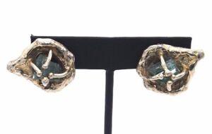 EARLY Vtg SIGNED Modernist ARTHUR KING Sterling Silver ROCK EMERALD Earrings