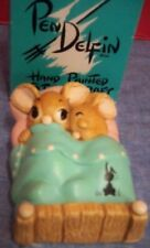 PenDelfin Hand Painted Stonecraft Twins Bunny Rabbits in Bed Made in England