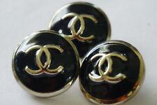 Six Buttons  color black cc silver Vintage Chanel buttons👍👍👍