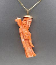 Vintage Carved Natural Coral Ancient Chinese God Pendant Necklace in 14k Yellow