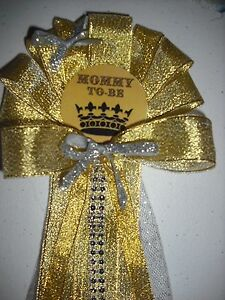 Prince or Princess baby shower Mommy To Be Corsage and Daddy To Be Tie  Gold
