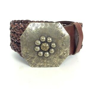 Fossil Womens Belt Size Large Wide Brown Woven Leather Boho Hippie