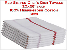 "Chef's Dish Towels White w Red Stripe 20x26"" Herringbone 100%-Cotton - 6pcs NEW"