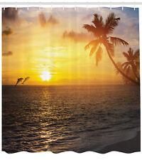 Ocean Dolphins Palm Trees Tropical Island Beach Sunset Extra Long Shower Curtain