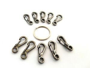 10 Grey Aluminium Quick Release Key Rings - Spring Clip Mini Carabiner