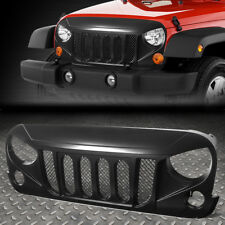 FOR 07-17 JEEP WRANGLER SATIN BLACK FRONT BUMPER ANGRY BIRD DIAMOND MESH GRILLE