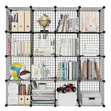 LANGRIA 16-Cube DIY Wire Grid Bookcase, Multi-Use Modular Storage Shelving Rack,
