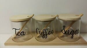 Personalised storage jars with spoon tray tea coffee hot chocolate stand bamboo