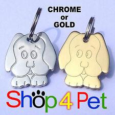 Pet ID Tag - Highly Polished Chrome Dog Shape Tags - Engraved FREE
