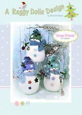 SNOWY FRIENDS SNOWMEN - Felt Sewing Craft PATTERN - Primitive Christmas Snowmen