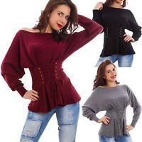 Maglione donna pullover maglia stringato pull lacci effetto corsetto nuovo 456