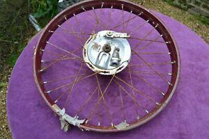 "Vintage new old stock motorcycle front 19"" wheel with Pranafa brake hub"