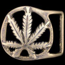 Marijuana Weed Pot Cannabis Leaf Plant Ganja Hippie Solid Brass Belt Buckle