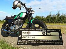 YAMAHA DT50MX RD50A XT250 RS125 XV535 SR500 TZ500 RD350 MX360 ETC... Data Plate