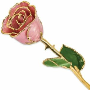 Lacquer Dipped Gold-Tone Trim Dusty Pink Rose