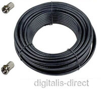 5m Satellite + TV Aerial Coaxial Cable 5 metres Black RG6 Coax Lead NEW
