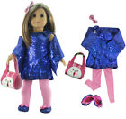6 PCS Set Doll Clothes Blue Sequin Dress for 18 inch American Girl Doll Outfit