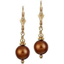 14k Gold Filled Swarovski Elements Copper Pearl Leverback Earrings