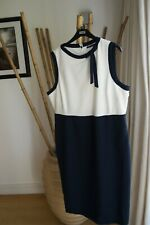 Marks & Spencer NAVY / CREAM Office Work Smart DRESS Size 20 with Stretch NEW