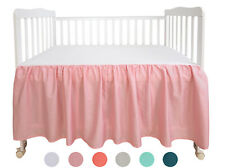 Crib Bed Skirt Cotton 2pcs Pink Dust Ruffle Nursery Crib Bedding for Baby Dh