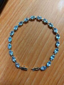 14k Yellow Gold Aquamarine  Fine Tennis Bracelet 5.6 g