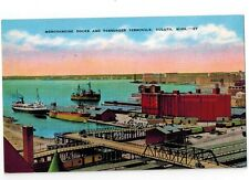 Great Lakes Ship Postcard - Merchandise Docks and Passenger Terminals - Duluth