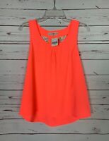Altar'd State Women's XS Extra Small Neon Coral Lace Summer Top Blouse NEW TAGS