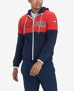 Tommy Hilfiger Denim Mens Designer Colour Block Full Zip Fleece Hoodie Jacket
