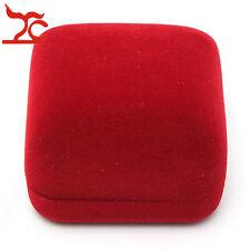 Jewelry Storage Box Red Flock Velvet Rose Engagement Wedding Earring Ring Holder