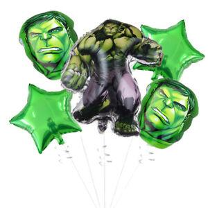 5Pcs Avengers Superhero Hulk Foil Balloons Kit Happy Birthday Party Decoration