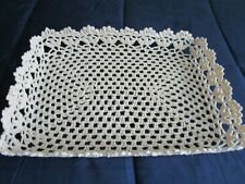 """Beige Stiffened lace basket collectible 15"""" x 10"""" x 2"""""""