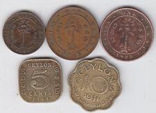 Ceylon - 1/2 , 1 ,  5 , 10   Cents Coin Set -  5 Different