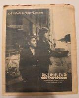 NEWSPAPER Tribute to John Lennon December 12 1980 ENCORE