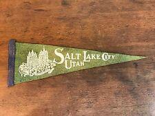 "Vintage Mormon Temple Salt Lake City Utah Felt Souvenir Pennant Flag (17.5"") HD0"