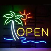 """Barber Shop Open Neon Lamp Sign 17/""""x14/"""" Bar Light Garage Cave Glass Artwork"""
