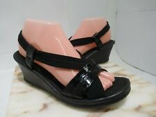 SKETCHERS ELASTIC SLINGBACK LIGHTWEIGHT WEDGE SANDALS-BLACK SIZE 9