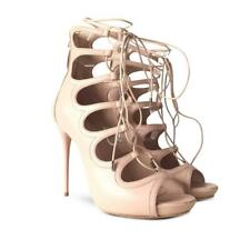 New Alexander McQueen Beige Creme Lace-Up Sandals Heels 6.5 US 37 EU