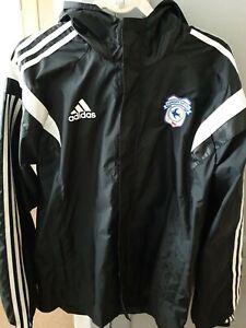 Cardiff City Fc Adidas Football Lightweight Windbreaker Jacket Coat Size L