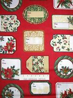Christmas Fabric - Holiday Elegance Gift Tags Red Green Cream - Windham YARD
