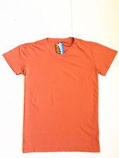 Men's Orange Casual Plain Top Short Sleeve V-Neck Sport Gym T-shirt 2019