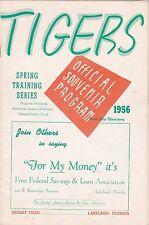 1956 Detroit Tigers vs Boston Red Sox Spring Training Baseball Scorecard Program