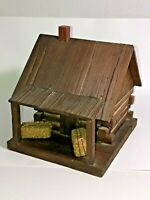 Quality Handmade Wooden Log Cabin Themed Handcrafted Wood Bird House Make Offer!
